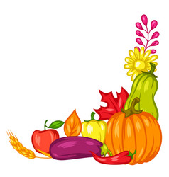 Harvest decorative element with fruits vector