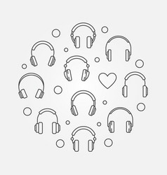 Headphones icons in circle shape line vector