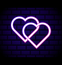 illuminated neon love hearts sign frame light vector image