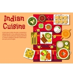 Indian cuisine dishes and snacks vector image