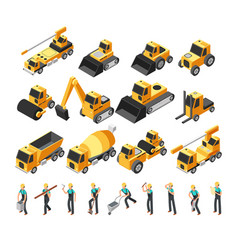 Isometric construction workers building machinery vector