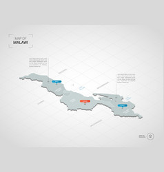isometric malawi map with city names and vector image