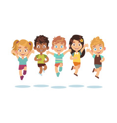jumping kids cartoon children playing and jump vector image