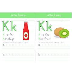 K for ketchup for kiwifruit vector