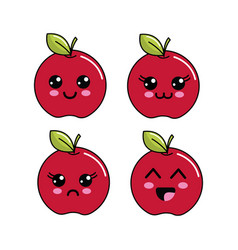 Kawaii apple diferents faces icon vector