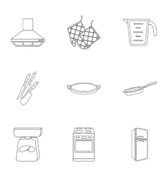 Kitchen set icons in outline style Big collection vector