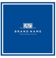 Letter av rectangle logo design vector