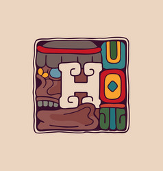 Letter h logo in aztec mayan or incas style vector