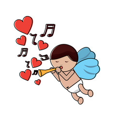 Love cupid flying with trumpet music hearts vector