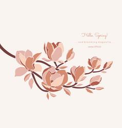 magnolia branch in pastel color palette on beige vector image