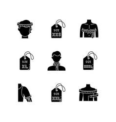 male clothing sizes black glyph icons set vector image