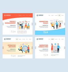 Management landing business website page layout vector