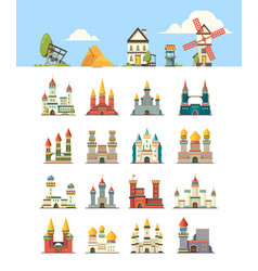 medieval buildings kingdom ancient construction vector image