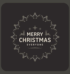 Merry Christmas Postcard Decorative Greeting Frame vector image