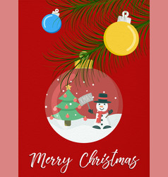 merry christmas snow globe snowman greeting card vector image