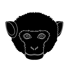 monkey icon in black style isolated on white vector image