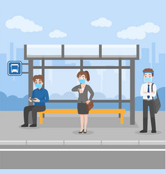New normal life people waiting bus transport vector