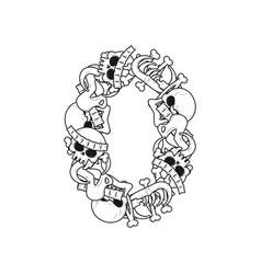 number 0 skeleton bones font zero anatomy of an vector image