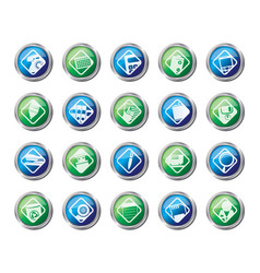 office tools icons over colored background vector image