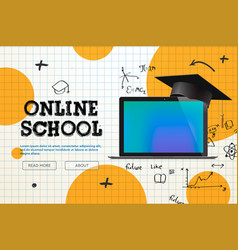 online school distance learning website page vector image