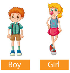 Opposite adjective words with boy and girl vector