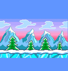 pixel art winter seamless background detailed vector image