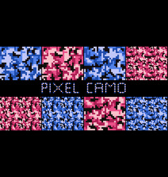 Pixel camo seamless pattern big set urban pink vector