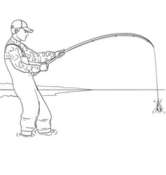 Pop art fisherman standing in water and fighting vector
