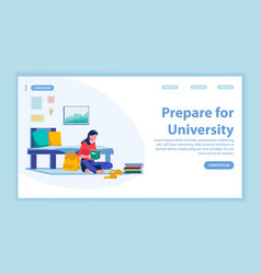 Prepare for university landing page with banner vector