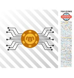 Puppy casino network flat icon with bonus vector