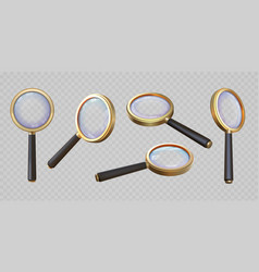 Realistic 3d magnifying glass top and angle view vector