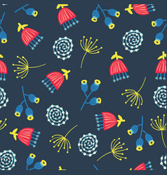 retro florals seamless background 1960s vector image