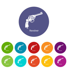 revolver icons set color vector image