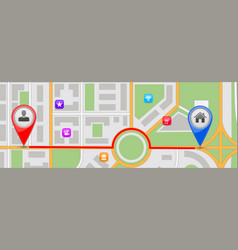 route to home destination city map vector image