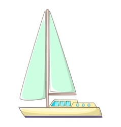 Sailing yacht icon cartoon style vector image