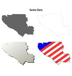Santa Clara County California outline map set vector image