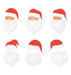 santa clause paper cuted style heads set santa vector image