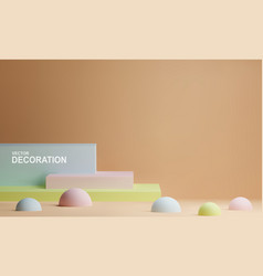Scene with rectangles and hemispheres in pastel vector