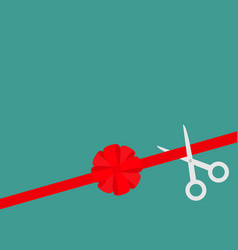 Scissors cut straight red ribbon on the right big vector