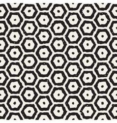 Seamless black and white hand drawn hexagon vector