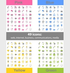 set 49 web icons vector image
