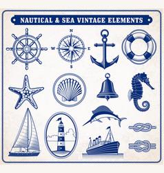 set marine maritime or nautical icons vector image