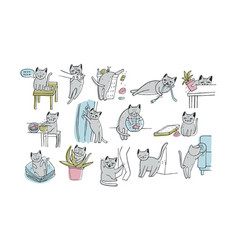Set of problem with cat behavior kitten meowing vector