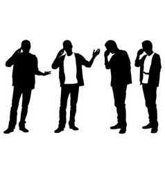 Silhouettes of men talking on the phone vector