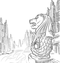 Sketch of Singapore Tourism Landmark Merlion vector