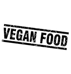 square grunge black vegan food stamp vector image
