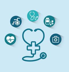 stethoscope cross medical equipment vector image
