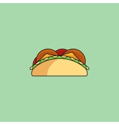 Tacos and burrito line icon vector image