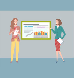 teamwork on collecting business data presentation vector image
