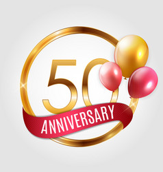 template gold logo 50 years anniversary with vector image